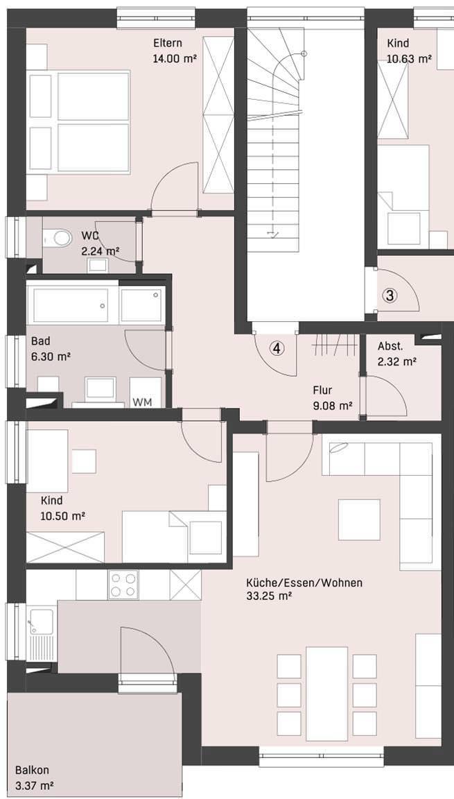 wohnung 4 im og 6 familienwohnhaus n gele bau neu ulm. Black Bedroom Furniture Sets. Home Design Ideas